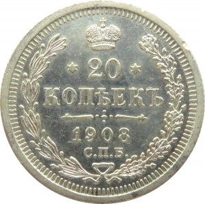 Rosja, Mikołaj II, 20 kopiejek 1908 EB, Petersburg, ładne