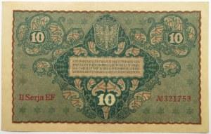 Polska, II RP, 10 marek 1919, II seria EF
