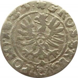 Zygmunt III Waza, grosz 1623, Kraków, dwukrotnie uderzona litera