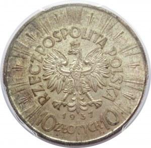 Polska, II RP, Józef Piłsudski, 10 złotych 1937, Warszawa, PCGS MS62