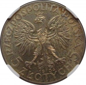 Polska, II RP, Kobieta, 5 złotych 1934, Warszawa, NGC MS62, piękne!
