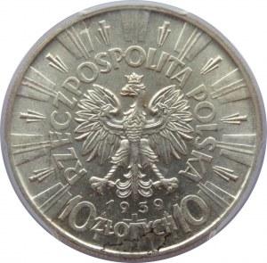 Polska, II RP, Józef Piłsudski, 10 złotych 1939, Warszawa, PCGS MS62
