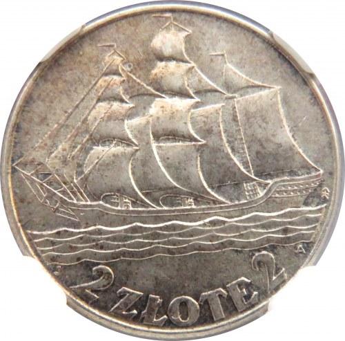 Polska, II RP, Żaglówka, 2 złote 1936, piękny egzemplarz, NGC MS63