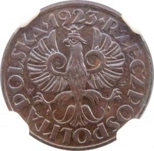 Polska, II RP, 1 grosz 1923, Warszawa, menniczy egzemplarz, NGC MS64BN