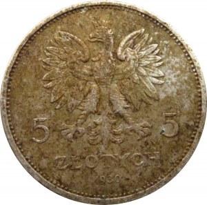 Polska, II RP, 5 złotych 1930, Sztandar, Warszawa, kolorowa patyna