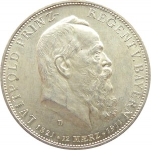 Niemcy, Bawaria, Luitpold 5 marek 1911 D, Monachium, UNC