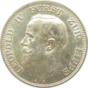 Niemcy, Lippe, Leopold IV, 3 marki 1913 A, Berlin, UNC-