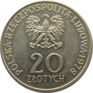 Polska, PRL, M. Konopnicka, 20 złotych 1978 - destrukt, brak ząbkowania rantu
