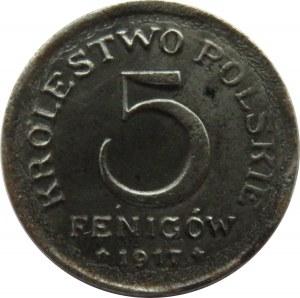 Królestwo Polskie, 5 fenigów 1917, destrukt skrętka o 40 stopni