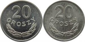 Polska, PRL, 20 groszy 1976 - dwie odmiany, mała i duża data, UNC