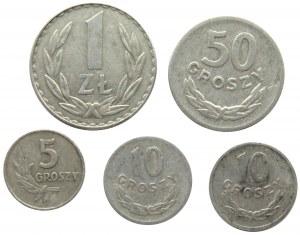 Polska, PRL, lot 5 monet, destruktów skrętek