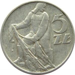 Polska, PRL, 5 złotych 1974, Rybak, rzadka odmiana : rybak na trawce