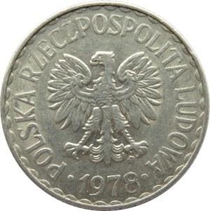 Polska, PRL, 1 złoty 1978 ze znakiem mennicy, Warszawa, inny krój