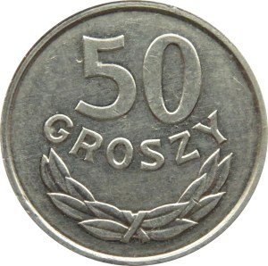 Polska, PRL, 50 groszy 1986, destrukt-przesuniecie stempla, grubszy krążek