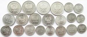 Polska, PRL, lot monet aluminiowych, 21 sztuk, UNC/UNC-
