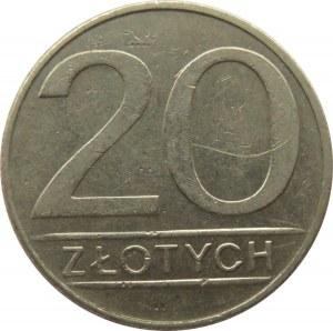 Polska, PRL, 20 złotych 1986 - szeroka data, Warszawa, bardzo rzadka odmiana