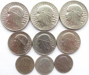Polska, II RP, Głowa Kobiety, zestaw 9 monet, Warszawa, wszystkie roczniki