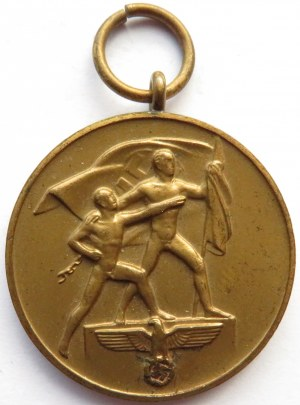 Niemcy, III Rzesza, medal za zajęcie Kraju Sudetów 1 X 1938, brąz, oryginalna wstążka