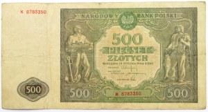 Polska, RP, 500 złotych 1946, seria K, rzadkie
