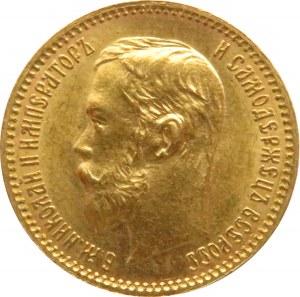 Rosja, Mikołaj II, 5 rubli 1902 AP, Petersburg, piękny egzemplarz