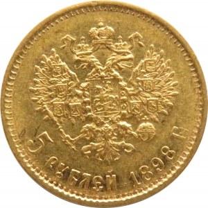 Rosja, Mikołaj II, 5 rubli 1898 AG, Petersburg