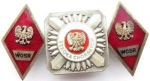 Polska, PRL, komplet Absolwentek WOSR (2 sztuki) i odznaka Szkoły Podchorążych