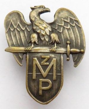 Polska, II RP, odznaka Związku Młodej Polski, nakrętka sygnowana ZWSSi SZK Warszawa