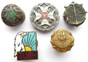 Polska, II RP, PRL, zestaw miniaturek i małych odznaczeń, 5 sztuk