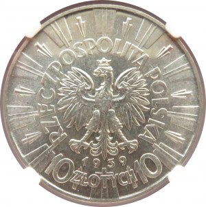 Polska, II RP, Józef Piłsudski, 10 złotych 1939, Warszawa, NGC MS63, piękny