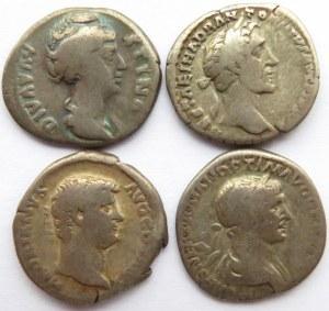 Rzym, Cesarstwo, lot 4 denarów II n.e., Trajan, Hadrian, Diva Faustyna, Antonius Pius