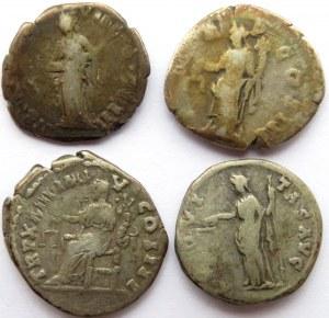Rzym, Cesarstwo, lot 4 denarów, II w.n.e., Antoninius Pius, Hadrian, Marek Aureliusz