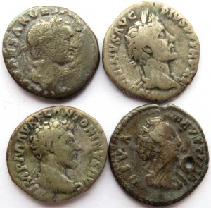 Rzym, Cesarstwo, lot 4 denarów, II w.n.e., Wespazjan, Antoninus Pius, Marek Aureliusz I Faustyna Starsza