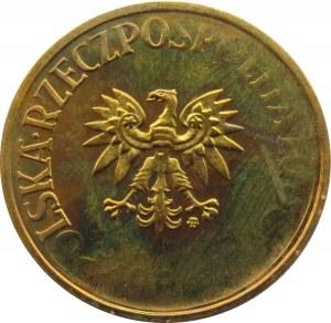Polska, PRL, 5 złotych 1984 i destrukt, niedobita data i napis w otoku, UNC