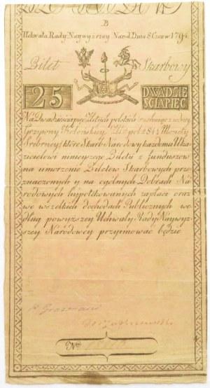 Insurekcja Kościuszkowska, 25 złotych 1794, seria B, numer 18810, Grozmani/Zakrzewski