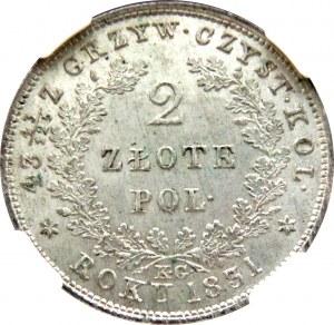 Powstanie Listopadowe, 2 złote 1831 K.G., Warszawa, NGC MS65!!!! Mega nota