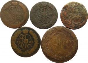 Rosja, Katarzyna II, lot miedzianych kopiejek, 5 sztuk, różne nominały