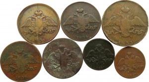 Rosja, Mikołaj I, lot miedzianych kopiejek z orłem masońskim, 7 sztuk, różne nominały