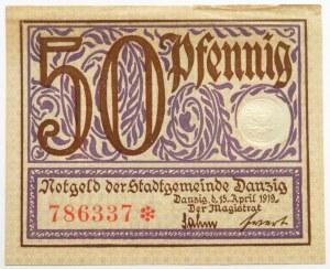 Wolne Miasto Gdańsk, 50 fenigów (pfennig) 1919, Gdańsk