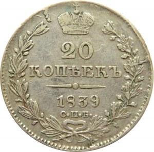 Rosja, Mikołaj I, 20 kopiejek 1839 HG, Petersburg