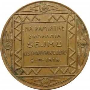 Polska, II RP, medal Na pamiątkę zwołania Sejmu Ustawodawczego 9-II-1919, Knedler, rzadki