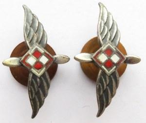 Polska, PRL, dwie odznaki korpusówki wojsk lotniczych