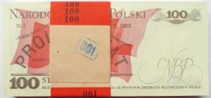 Polska, PRL, paczka bankowa 100 złotych 1988, seria SE - idealna!