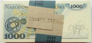 Polska, PRL, paczka bankowa 1000 złotych 1982, seria KG, UNC