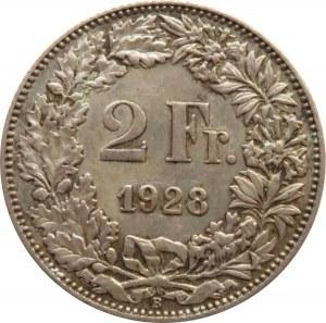 Szwajcaria, 2 franki 1928 B, Berno