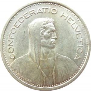 Szwajcaria, 5 franków 1950 B, Berno, niski nakład, UNC