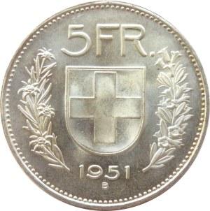 Szwajcaria, 5 franków 1951 B, Berno, niski nakład, UNC