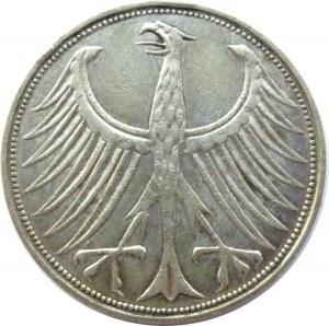 Niemcy, RFN, 5 marek 1961 J, Hamburg, rzadszy rocznik