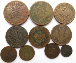 Rosja, Mikołaj I/Aleksander II - lot 10 monet miedzianych kopiejek, Jekaterinburg/Warszawa/Petersburg