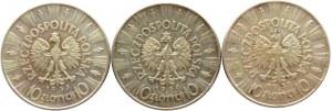 Polska, II RP, Józef Piłsudski, lot 10 złotych 1935, 1936, 1937, Warszawa