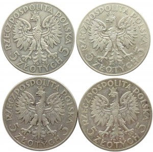 Polska, II RP, Głowa Kobiety, lot 5 złotych 1934 Warszawa